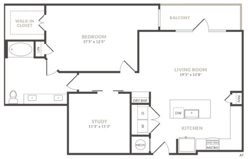 A10 one bed/study/one bath luxury apartment home at Alexan River Oaks - Live Better in Style
